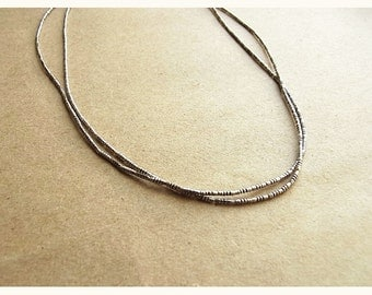 Hill Tribe Silver Striped Bugle Bead Strand Necklace // Thai Hill Tribe Oxidised Pure Silver Bead Necklace