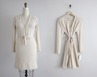 RESERVED ITEM! cashmere  dress | beige wool dress | wrap dress
