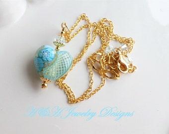 Heart Necklace, Murano Heart Jewelry, Murano Glass Heart Necklace, Murano Glass Jewelry, Venetian Blue Heart Necklace, Murano Necklace