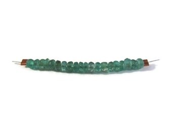 Twenty Natural Emerald Beads, 20 Non Treated Faceted Rondelles, 3mm Natural Gemstones for Jewelry Making (Luxe-Em1c)