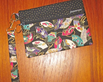 Wrist Strap Zippered Pouch Fans Design Japanese Asian Fabric Black