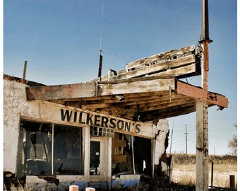 Abandoned Route 66 Photo - 9x12 Documentary Photograph Art - Old New Mexico Filling Station - American Road History Photography - Signed Art