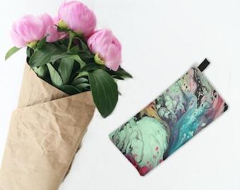 Multi Pastel Marble Cosmetic Makeup Bag Modern Marbled Printed Zip Clutch