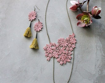 rose pink lace necklace and earrings set | FLOREAT | tassel earrings, long necklace, jewelry set, bridal jewelry, gift for her
