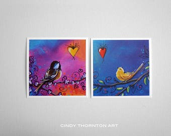 Song Bird Series Mini Print Set- Black-capped Chickadee and Canary - Signed