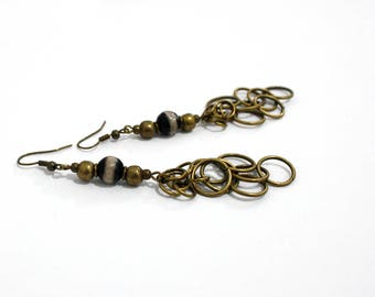 Boho earrings,agate earrings,gypsy earrings,ethnic earrings,boho chic,gypsy style,long dangle earrings,bronze,black,vegan,gift for her