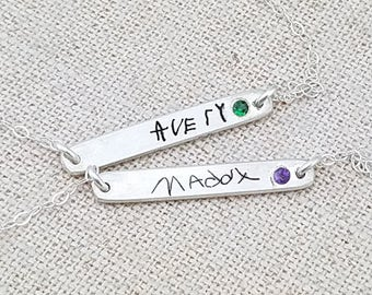 Mother's Day - Custom Handwriting Jewelry - Personalized Bracelet - Birthstone Jewelry - Mom Jewelry - Birthstone Bar Bracelet -Gift for Mom