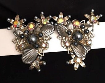 Large 1950s Earrings Aurora Borealis Rhinestones Smokey Gray n Black Beads Leaves . 50s Triangular Clip on Open Work Backs Silver Tone