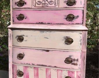 Vintage Pink Dresser - Painted Pink Dresser -  Vintage Highboy Dresser - Bohemain Dresser - Rustic Farmhouse Dresser - Shabby Chic Dresser