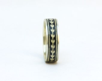 Size 9 Sterling Silver and Wood Ring Wooden Ring, Chevron Ring, Wood and Metal Ring, Wood Ring For Him, Men's Wood Ring, Wooden Wedding Ring