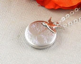 Sterling Silver Locket,Sterling Silver,  Silver Locket Sterling Silver Round Locket, Family Tree, Wedding Jewelry,