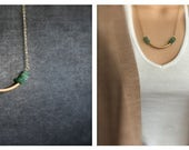 Aventurine Strand Necklace - Gold Brass, Light Green Gemstone, Mint Green Stone, Boho Jewellery