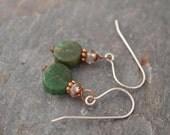 Smoky Quartz and Moss Agate Earrings
