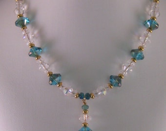 Teal Crystal Drop Necklace and Earrings Set