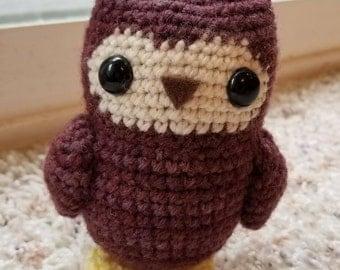 Hand Dyed Maroon Tea Owl Crochet Amigurumi Wool Doll