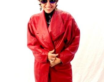 Vintage jacket leather jacket red jacket 80s/90s jacket oversized jacket
