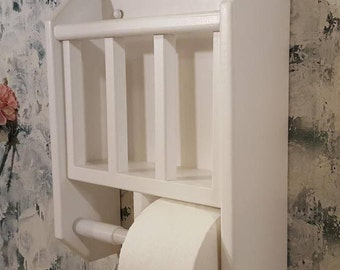 White Contemporary Magazine Rack with Double Roll Toilet Paper Holder made in the USA