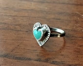 Turquoise Heart Sterling Silver Stamped Ring - size 5.5 - boho valentine hippie dainty ponderbird
