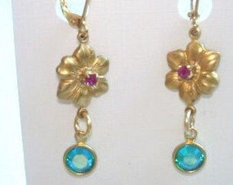 Flower Red Rhinestone Turquoise Crystal Earrings Gold Tone