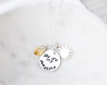 Birthstone Mom Necklace - Personalized You Are My Sunshine Jewelry - Mom Gift Ideas - Custom Mothers Day Necklace - New Mom Necklace