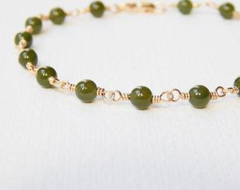 Nephrite Jade Bracelet - Gold Filled Beaded Rosary Bracelet Greenery Beadwork Bracelet Green Jade Rosary Chain