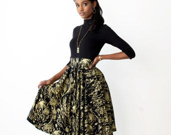 Swing Pocket Skirt - Hand Printed - Organic Cotton - Summer Wedding -Slow Fashion - Eco Fashion - Growing Garden - Thief and Bandit®