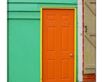 Pinted Old Door in Newfoundland from Historic Jelly Bean Row houses in St. Johns, Newfoundland