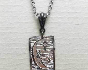 Etched Copper Crescent  Moon Necklace