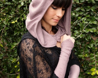 NEW The Lovely Lavender Knit Ruched Hood by Opal Moon Designs (One Size Fits all)