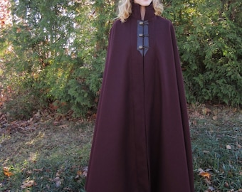 3 Button Cloak - Wool Cloak - Long Cloak - Cloak with Collar - Cloaks and Capes
