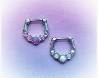 SALE Opal Septum clicker, septum ring