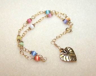 Leaf Charm Anklet for Women Cats Eye Body Jewelry Adjustable Gold Chain Multi Color Ankle Bracelet Colorful Jewelry Gift Ideas for Her