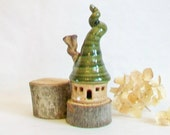 Garden Fairy House - 1 House - Speckled Stoneware with a Chimney and a Corkscrew  Roof - Handmade on Potters Wheel