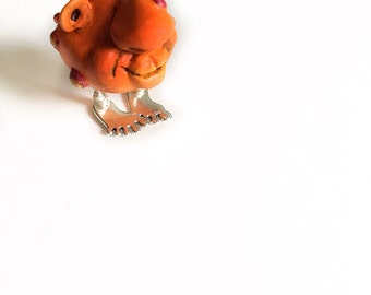 Art Orange Creature, Art Miniature, Whimsical Figurine, OOAK Miniature, Polumer Clay Miniature, Clay Sculpture