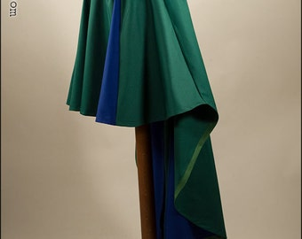 Beautiful cotton fantasy steampunk skirt, larp, victorian, pirate, green and blue, READY TO SHIP