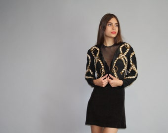 1980s Vintage Black and Gold Rope Bollero Abstract Graphic Beaded Sequins Jacket - Vintage 80s Sequins  - Vintage Sequin Trophy - W00320