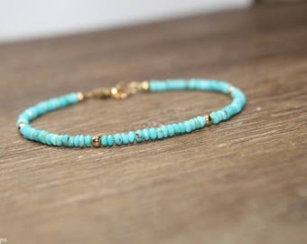 Sleeping Beauty Turquoise Bracelet, Turquoise Jewelry, December Birthstone, Gemstone Bracelet, Gold Filled or Sterling Silver Beads