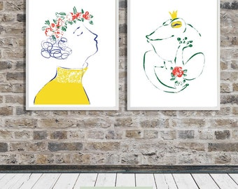 Kissing a Frog, Love print, Fairy tale, Flower Girl, Drawing, Printable Art, Instant Digital Download - several print sizes included