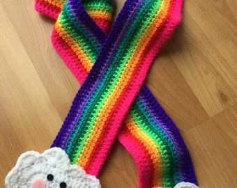 Happy Rainbow Scarf, Rainbow and Clouds Scarf, READY TO SHIP