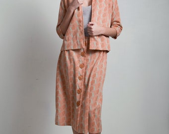 70s vintage skirt set suit 2-piece salmon orange abstract rose poly knit open front jacket LARGE L
