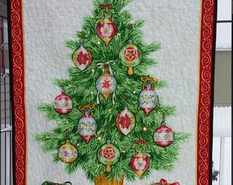 Quilted Christmas tree wall hanging, hand beaded with glass beads, and white lights, traditional red, green, white, OOAK, Quiltsy Handmade