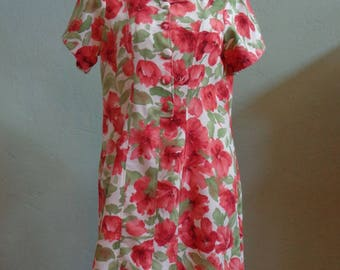 "Vintage Unlined Off White Short Sleeved Dress with Floral Print (Orange Flowers/Green Leaves) Bust 37"" Waist 35"""