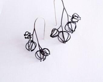 quadrable physalis minimalistic wireframe earrings, statement earrings, geometrical