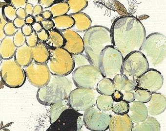 SUMMER SALE. For The Birds - original painting, Black Bird, Green and Yellow  Zinnias Flowers painted on Vintage Wallpaper