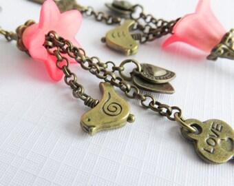 Long key earrings, dangle earrings, bronze bird earrings, romantic pink jewelry, gift for her, rustic jewelry