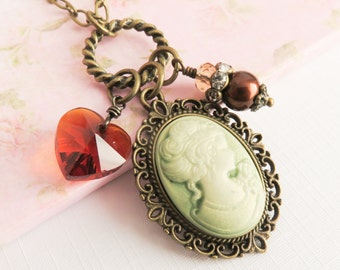 Cameo necklace, bronze charm necklaces, victorian style jewelry, romantic jewelry, heart necklace, gift for her