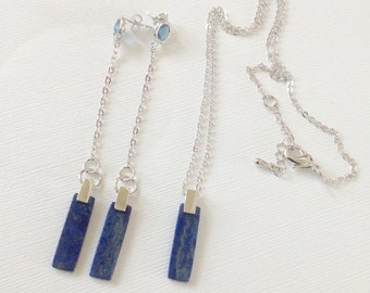 Lapis lazuli necklace, Lapis necklace, Lapis pendant necklace, necklace and earrings set, lapis necklace and earrings, lapis long earrings