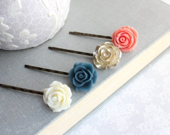 Coral Rose Bobby Pins Ivory Cream Floral Hair Accessories Navy Blue Rose Hair Clip Flower Bobbies Flowers for Hair Gold Rose Hair Pins