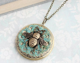 Honey Bee Necklace, Antique Brass Large Round Photo Locket Pendant Keepsake Vintage Style Victorian Verdigris Patina Lace Filigree Bumblebee