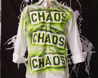 Punk Men's Shirt Button Up Long Sleeve Seditionaries Top 77 Sex Pistols The Clash Chaos Neon Yellow Black Punk Rock Dress Shirt